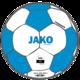 Trainingsball Striker 2.0 weiß/JAKO blau Vorderansicht